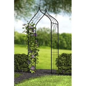 Panacea Ogee Top Garden Arbor With Finials Black