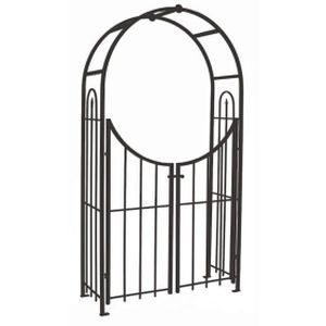 "Panacea 90"" Arched Top Arch with Gate Black"