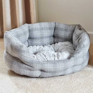 Zoon Grey Plaid Oval Bed Xl