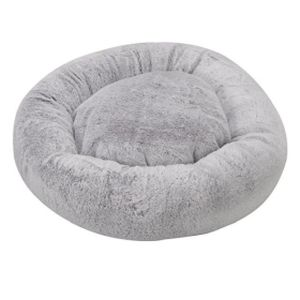 Zoon Grey Fur Calming Pet Bean Bed - Small