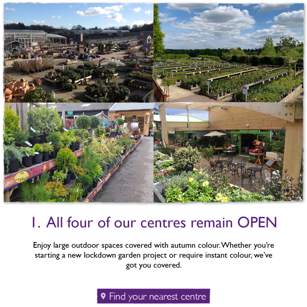 All four of our centres remain OPEN